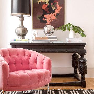 Vintage Milo Baughman Pink Velvet Chair