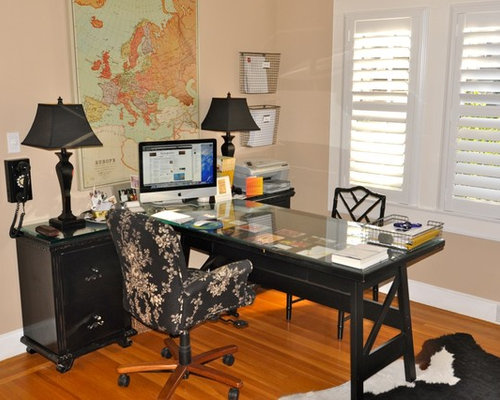 Contemporary Freestanding Desk Medium Tone Wood Floor Home Office Idea In  Sacramento With Beige Walls