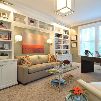 Mid-sized transitional freestanding desk dark wood floor and beige floor study room photo in Boston with gray walls and no fireplace
