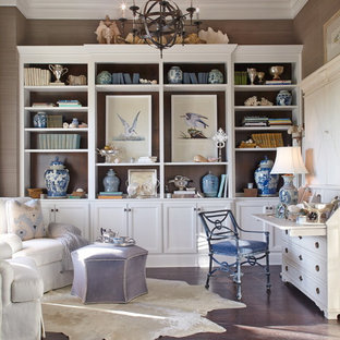 Study room - coastal built-in desk study room idea in Dallas
