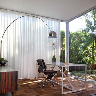 Study room - mid-sized contemporary freestanding desk study room idea in Los Angeles with white walls and no fireplace