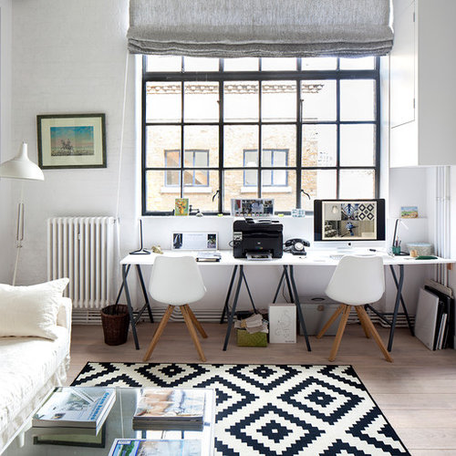 Medium Sized Scandinavian Home Office And Library In London With White  Walls, Light Hardwood Flooring