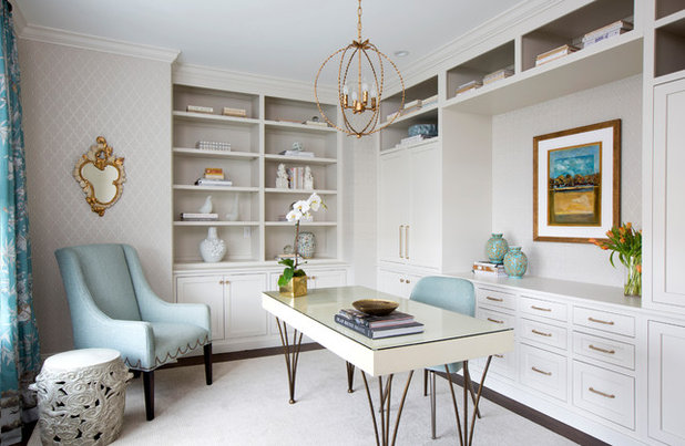 Transitional Home Office by AJ Margulis Interiors