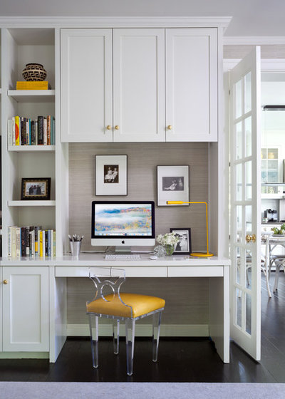 Transitional Home Office by Julia Overton Interiors