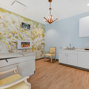 シカゴの中くらいのトランジショナルスタイルのおしゃれなホームオフィス・書斎 (青い壁、淡色無垢フローリング、吊り下げ式暖炉、ベージュの床) の写真