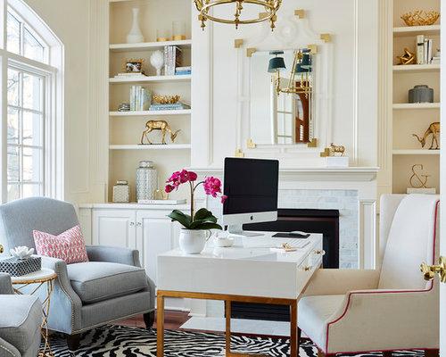 Elegant Freestanding Desk Medium Tone Wood Floor And Brown Floor Home Office  Photo In Minneapolis With
