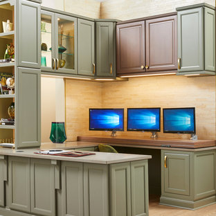 Example of a transitional home office design in Birmingham