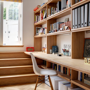 Home Studio   Contemporary Built In Desk Light Wood Floor Home Studio Idea  In London