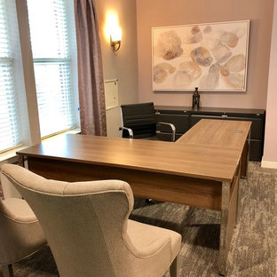 Design ideas for a classic home office in Philadelphia with purple walls and carpet.