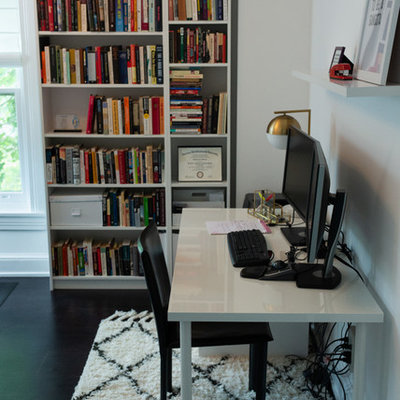 Inspiration for an eclectic home office remodel in Philadelphia with white walls