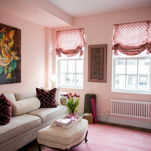 Inspiration for a medium sized vintage home office and library in New York with pink walls, carpet, pink floors and a reading nook.