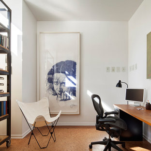 Home Office Contemporary Freestanding Desk Idea In Chicago With White Walls