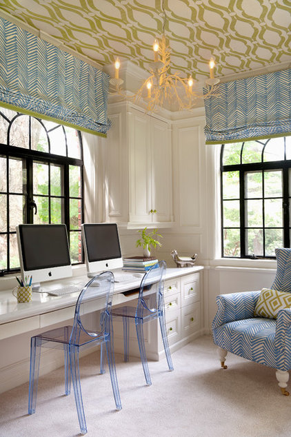 Transitional Home Office by Annsley Interiors