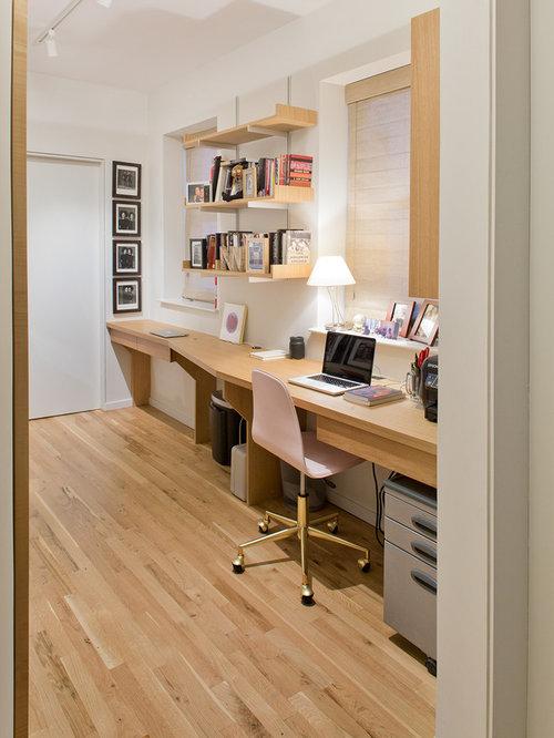 Example Of A Trendy Built In Desk Light Wood Floor And Brown Floor Home  Office