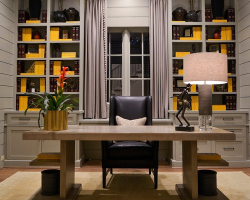 Mediterranean home office and library design ideas for Library wall colors