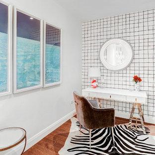 Study Room   Transitional Freestanding Desk Medium Tone Wood Floor Study  Room Idea In New York