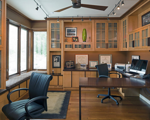 Inspiration For A Craftsman Built In Desk Medium Tone Wood Floor Home Office  Remodel In