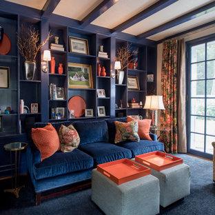 ボストンの中サイズのトランジショナルスタイルのおしゃれなホームオフィス・書斎 (ライブラリー、青い壁、カーペット敷き、標準型暖炉、レンガの暖炉まわり、青い床) の写真