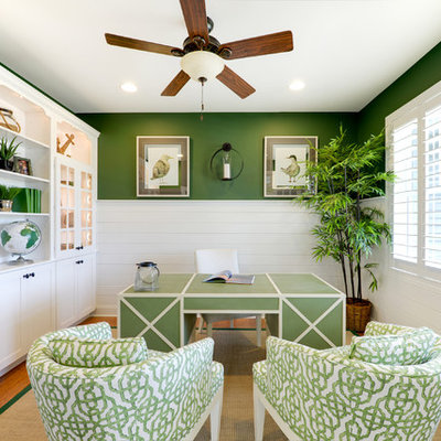 Inspiration for a coastal freestanding desk study room remodel in Philadelphia with green walls