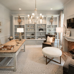 Example Of A Cottage Chic Home Office Design In Houston