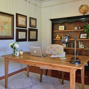Superior Inspiration For A Country Study Room In Brisbane With Beige Walls, Dark  Hardwood Floors,