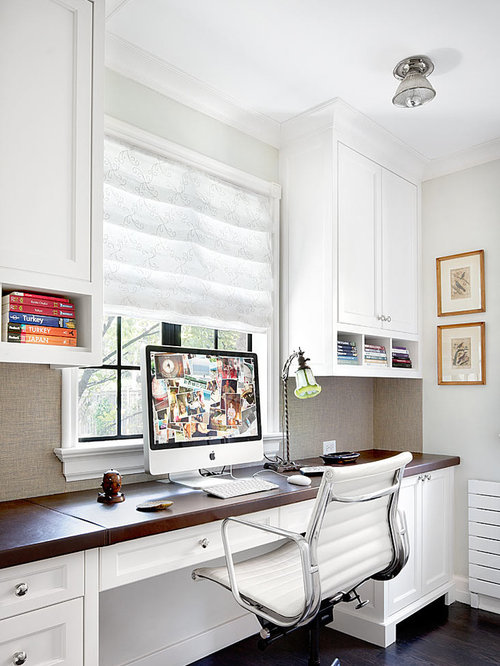 Home office built in desk home design ideas pictures for Office design houzz