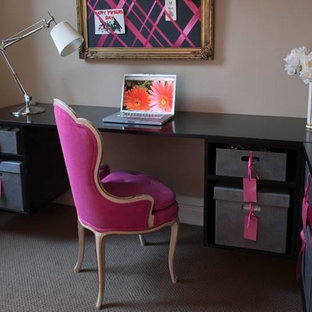 Inspiration for a small contemporary freestanding desk carpeted home office remodel in Chicago with beige walls