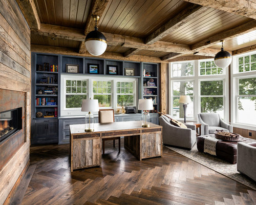 Inspiration For A Farmhouse Freestanding Desk Dark Wood Floor Study Room Remodel In Chicago With