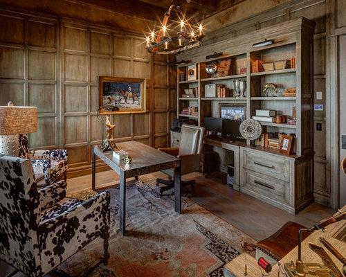 mountain style freestanding desk medium tone wood floor and brown floor study room photo in salt