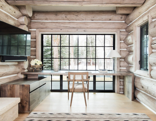 Rustic Home Office by Robyn Scott Interiors, Ltd.