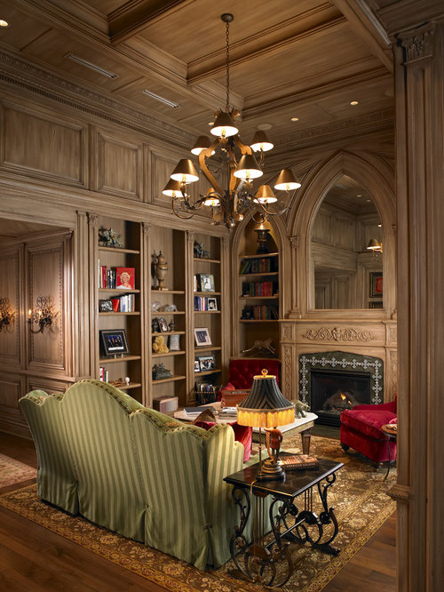 Wood Paneled Study Houzz