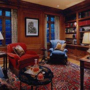 Large elegant home office photo in Boston