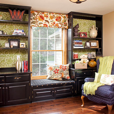 Inspiration for a timeless dark wood floor home office remodel in Minneapolis with beige walls