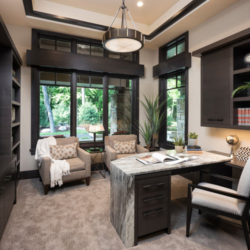Contemporary Built In Desk Carpeted And Beige Floor Study Room Idea In  Minneapolis With Beige