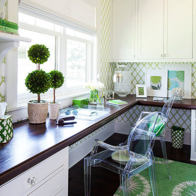 Inspiration for a transitional built-in desk home office remodel in Minneapolis