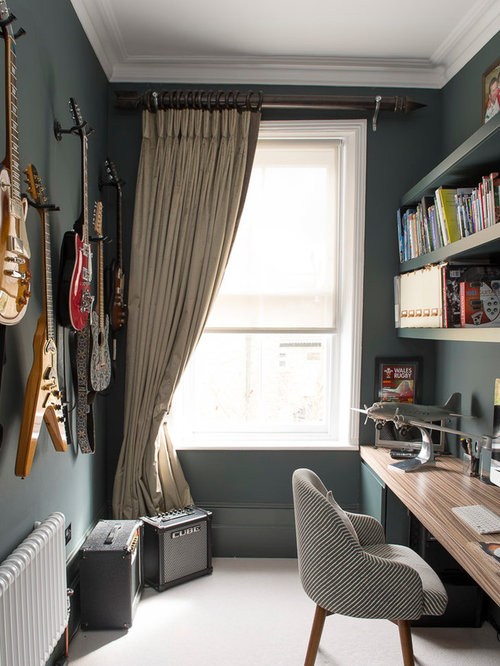 Inspiration For An Eclectic Home Office And Library In London With Green  Walls, Carpet,