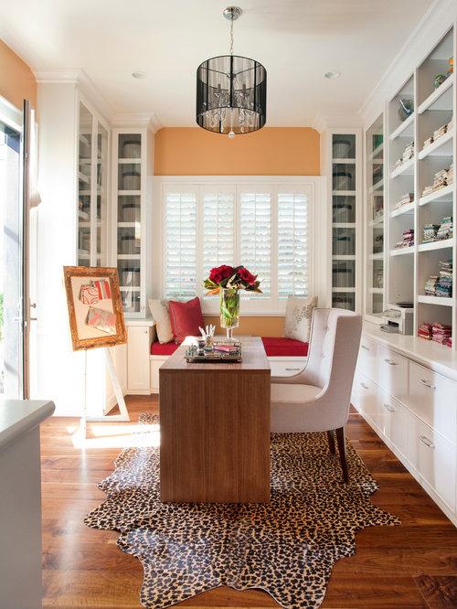 Moderne arbeitszimmer mit oranger wandfarbe ideen design - Arbeitszimmer wandfarbe ...