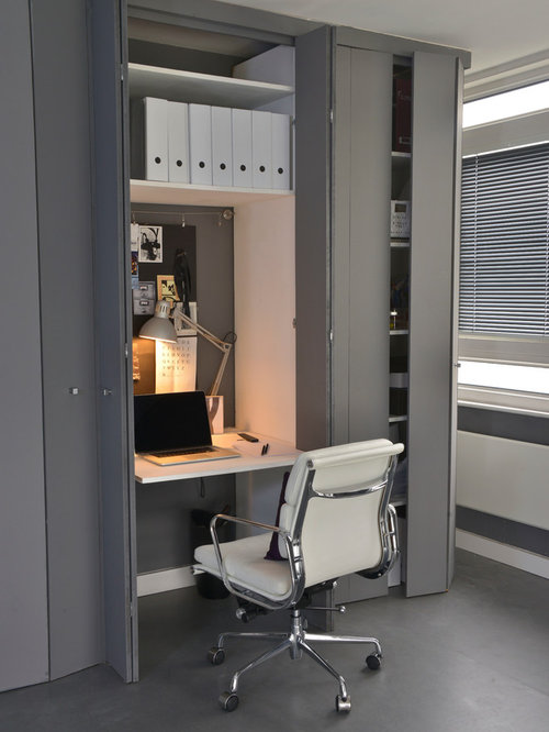 Home Office Small Contemporary Built In Desk Gray Floor Idea London