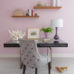 Inspiration for a small transitional freestanding desk carpeted and gray floor study room remodel in St Louis with pink walls and no fireplace