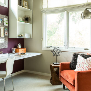 Inspiration for a contemporary built-in desk carpeted study room remodel in San Francisco with purple walls