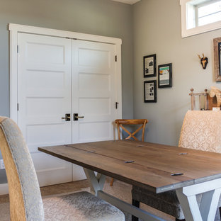 Inspiration for a rustic home office remodel in Cleveland
