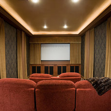 Traditional Home Theater by Pinnacle Architectural Studio