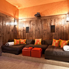 Rustic Home Theater by Jaffa Group Design Build