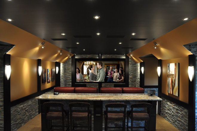 Contemporary Home Theater by H2 Systems Inc.
