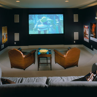 Home theater - traditional home theater idea in New York