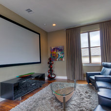 Contemporary Home Theater by Adam Wilson Custom Homes