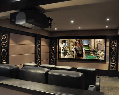 Inspiration For A Contemporary Enclosed Carpeted Home Theater Remodel In Toronto With Projector Screen