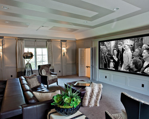 example of a gray floor home theater design in dallas with gray walls