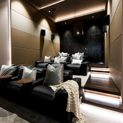 Example of a trendy enclosed multicolored floor home theater design in Sunshine Coast with multicolored walls