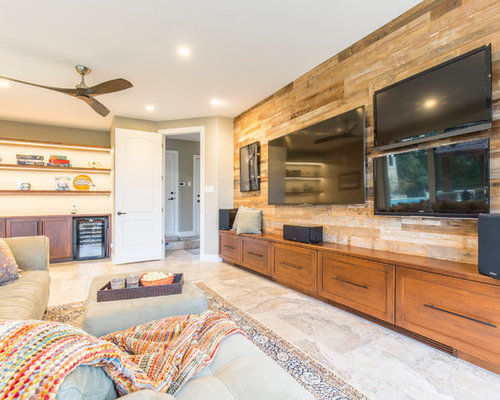 home media room designs. Inspiration for a transitional gray floor home theater remodel in Austin  with brown walls and Our 50 Best Home Theater Ideas Remodeling Photos Houzz